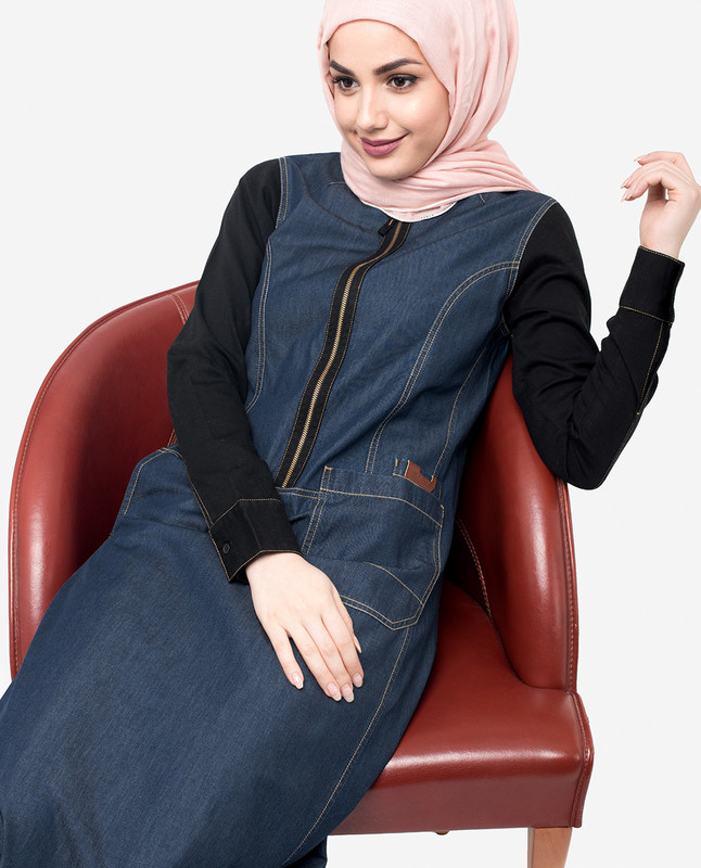 Denim & Black Contrast Zipper Jilbab