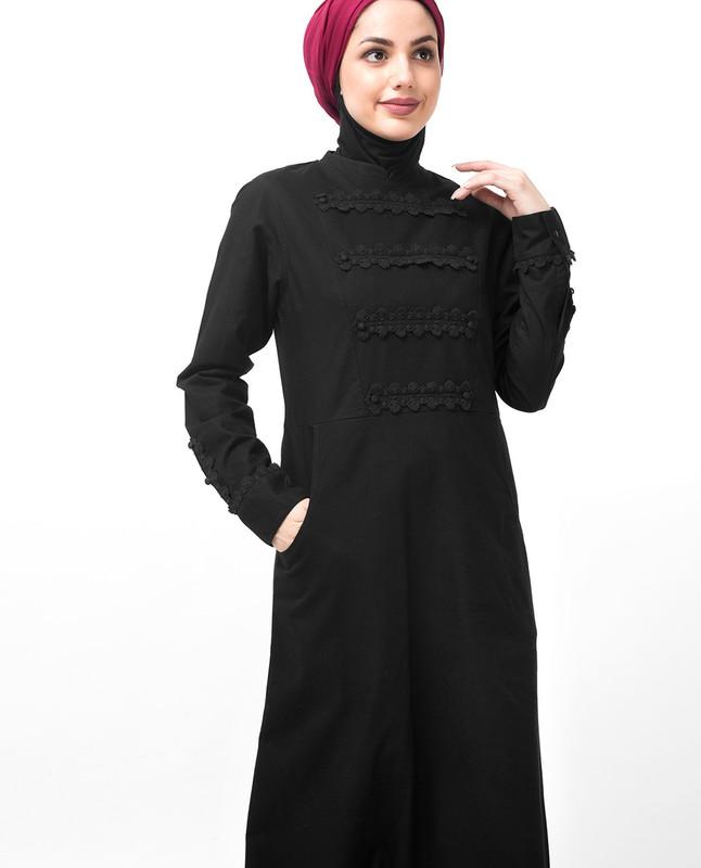 Black Lace Patched Abaya