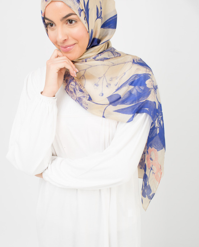 Ivory And Citadel Blue Hijab