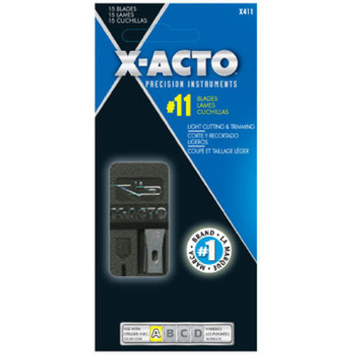 X411, Blade Dispenser, Xacto Blade No. 11 Precision Cutter Qty 15 X411