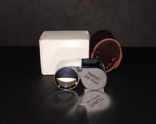 20X 21mm Jewelers Triplet Teardrop Loupe & Leather Case , 20x-32021