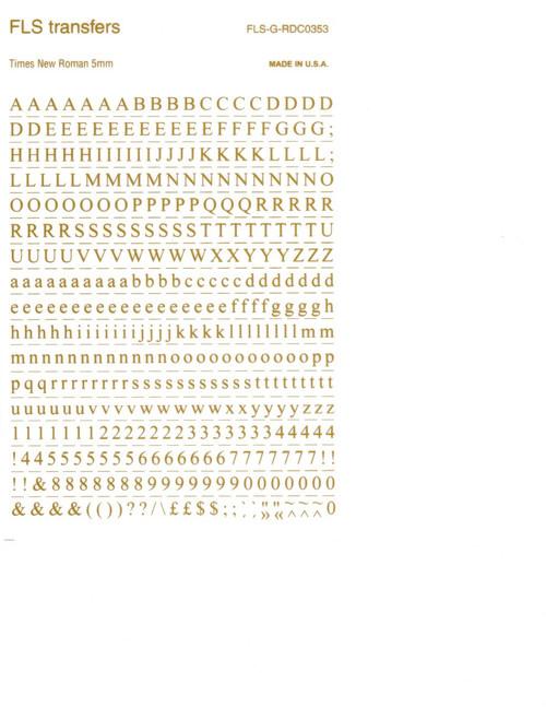Gold, Letraset now FLS, 5mm, Times New Roman, FLS-G-RDC0353