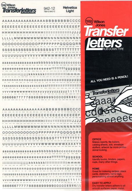 Dry Transfer Lettering, 12 point, 12pt, Helvetica Light, 942-12