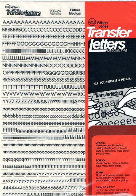 """Dry Transfer Lettering, 24 point, 1/4"""", Futura Medium, 935-24"""