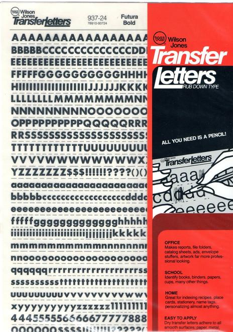 "Dry Transfer Lettering, 24 point, 1/4"", Futura Bold, 937-24"
