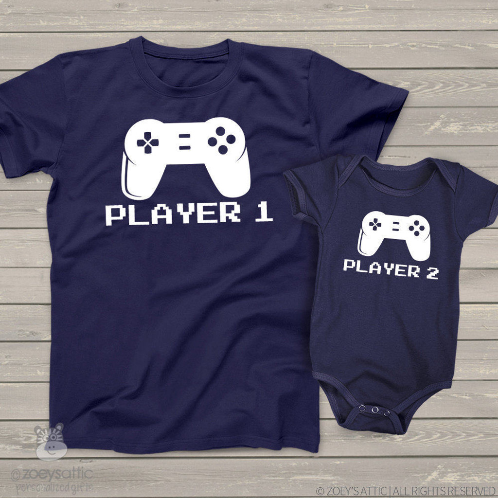 Video game player 1 and player 2 matching dad and kiddo t-shirt or bodysuit custom DARK gift set