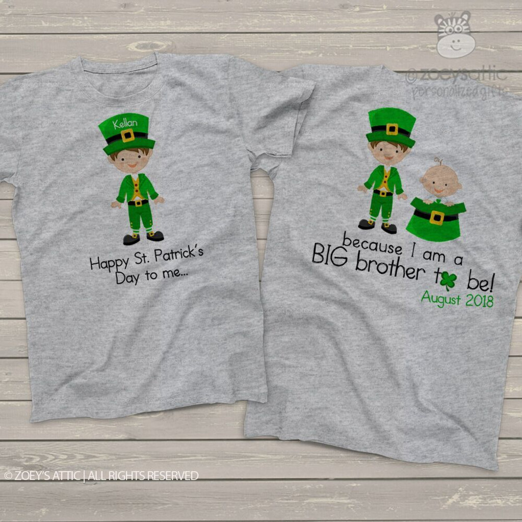 Big brother or big brother to be shirt St. Patricks Day front/back pregnancy announcement Tshirt