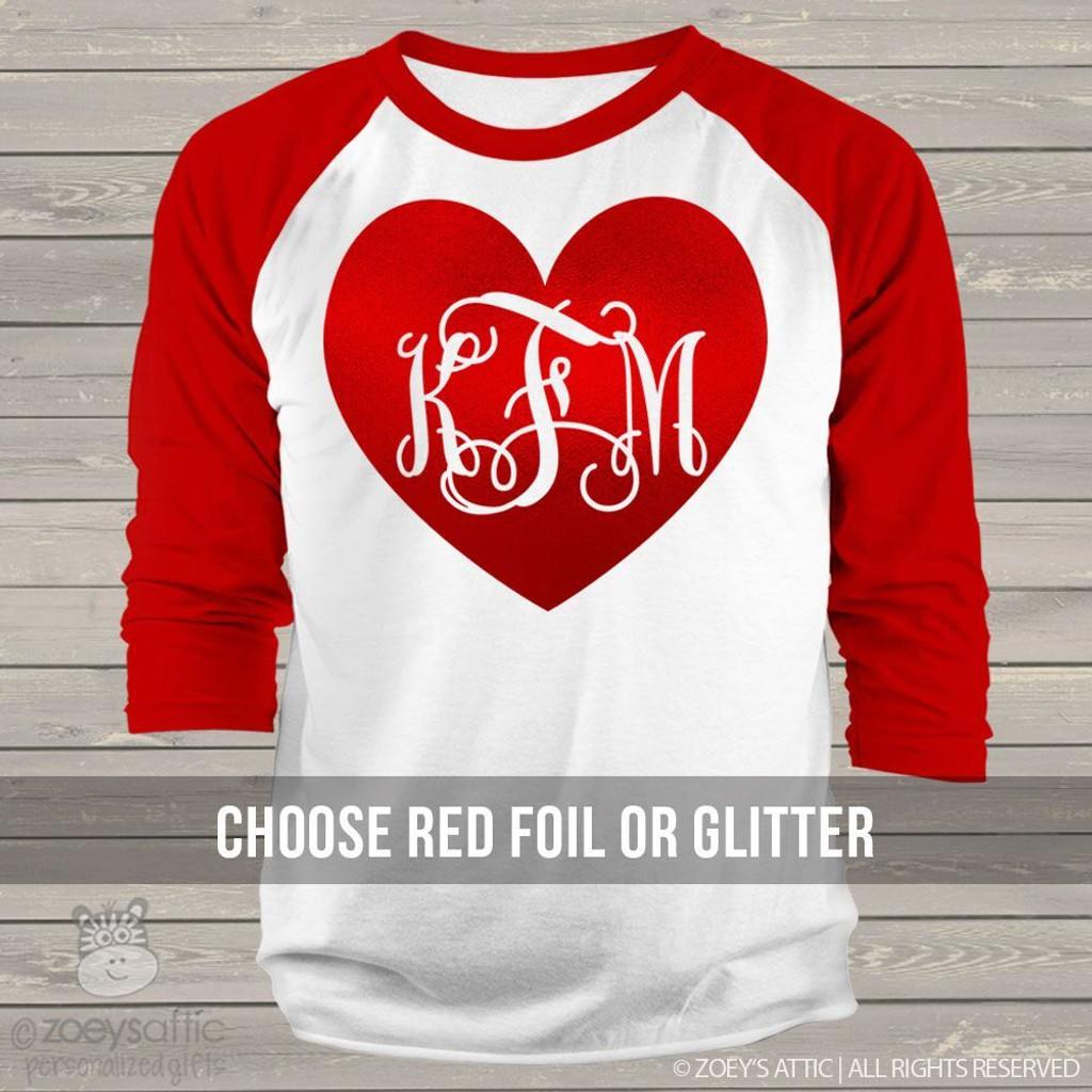 Valentine glitter heart  monogram ADULT raglan shirt