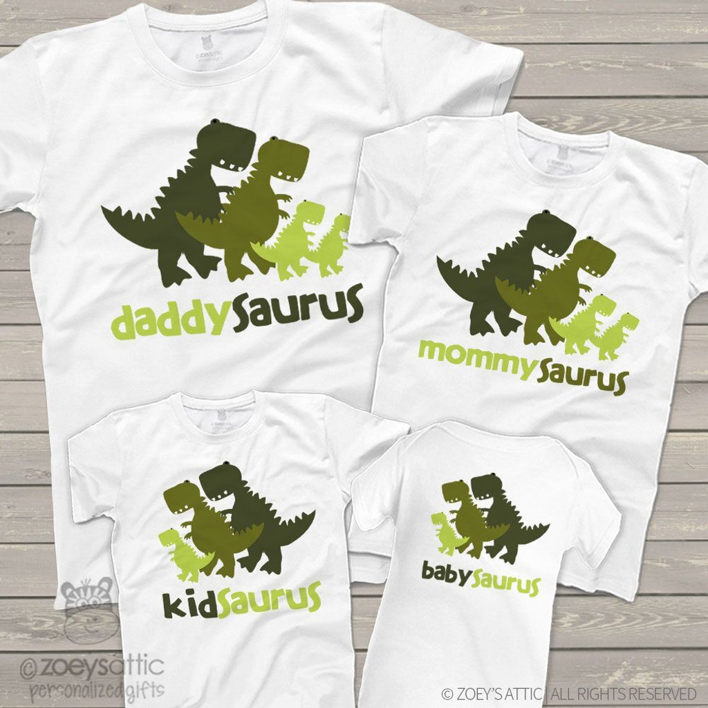 Dinosaur daddy mommy kid baby saurus matching FOUR shirt gift set