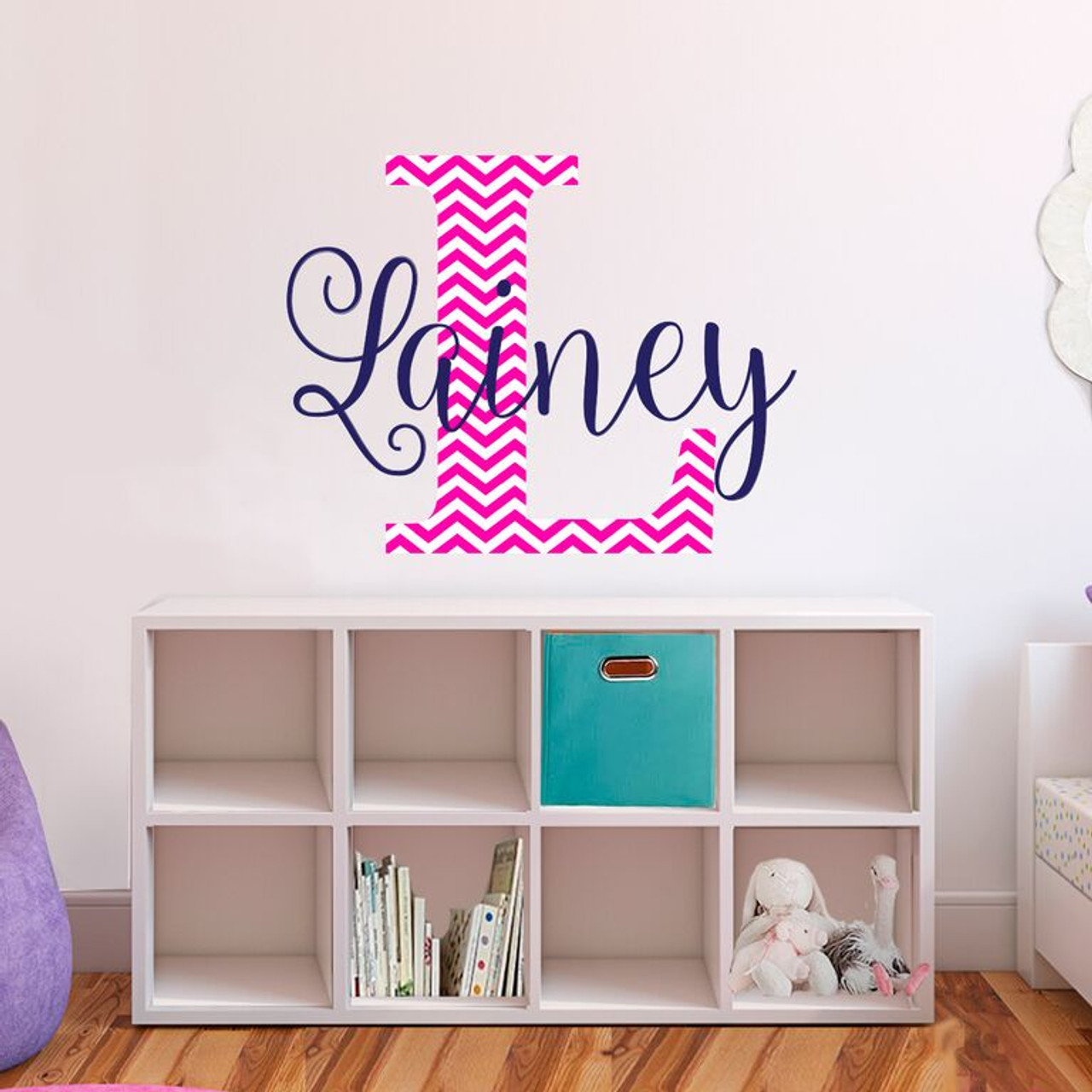 Name and initial chevron fabric vinyl wall decals  sc 1 st  Zoeyu0027s Attic Personalized Gifts & fabric vinyl wall decals monogram initial and name removable wall ...