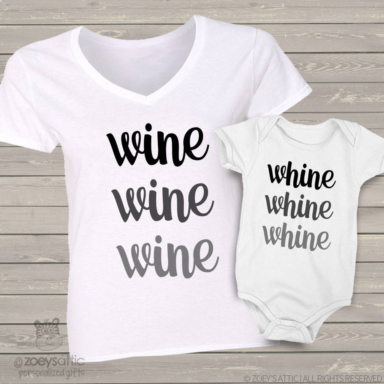 Custom mom baby shirts whine and wine two shirt gift set wine and whine mom baby matching shirt gift set negle Choice Image