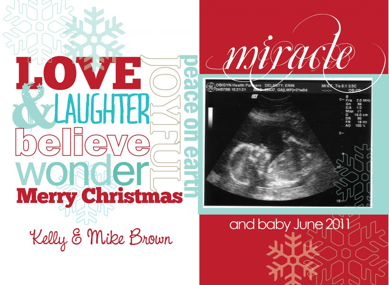 print yourself ultrasound pregnancy announcement christmas card trendy words