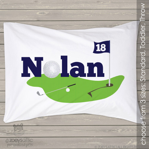 Personalized golf travel or toddler pillow and pillowcase