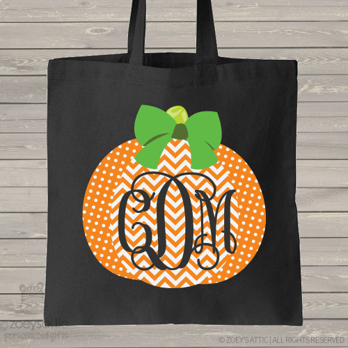 Halloween bag monogram chevron pumpkin DARK trick or treat bag