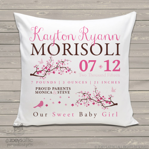 Birth announcement pillow cherry blossoms and bird custom throw pillow with pillowcase