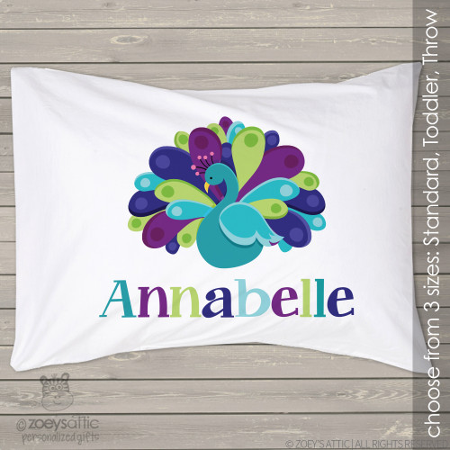 Peacock personalized pillowcase / pillow