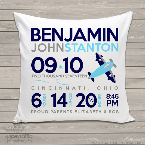 Birth announcement pillow airplane custom throw pillow with pillowcase