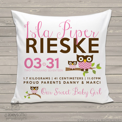 Birth announcement pillow hoot owl custom throw pillow with pillowcase