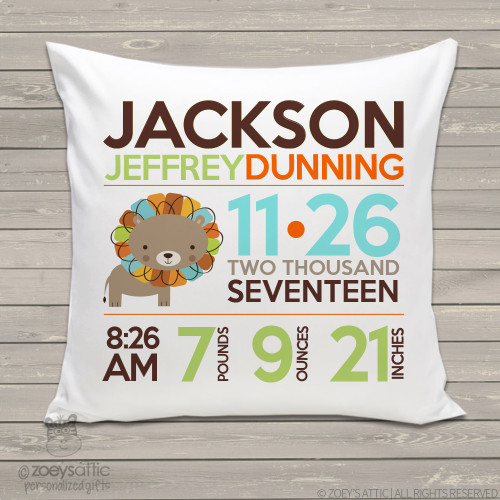 Birth announcement pillow colorful lion custom throw pillow with pillowcase