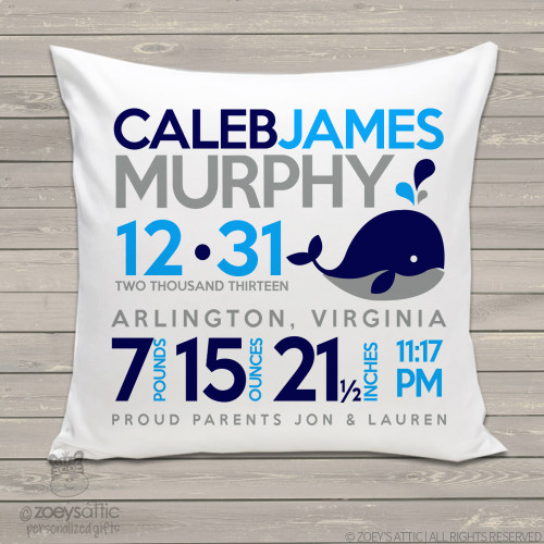 Birth announcement pillow whale custom throw pillow with pillowcase