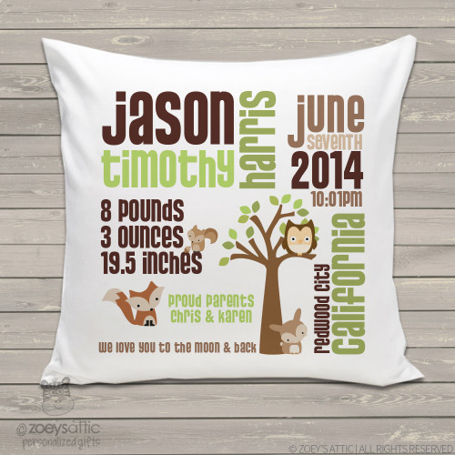 Birth announcement pillow woodland friends custom throw pillow with pillowcase