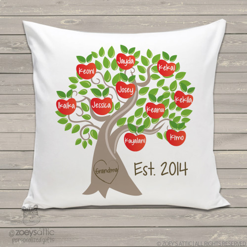 Grandma family tree throw pillow custom personalized apple tree pillowcase with pillow insert