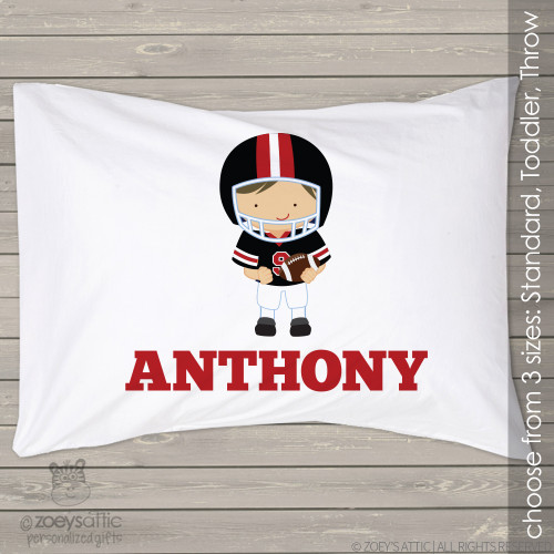 Football player sports theme personalized pillowcase / pillow