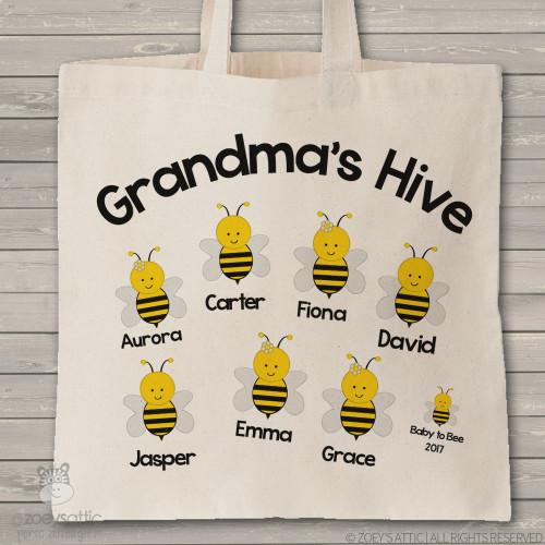 Grandma tote beekeeper grandma's hive personalized tote bag