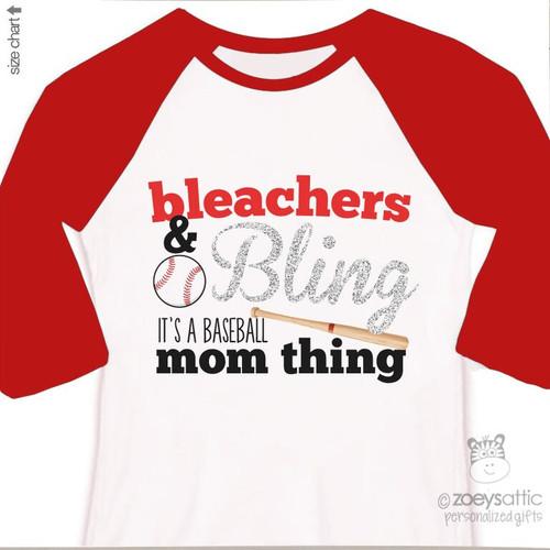 Baseball bling sparkly raglan shirt