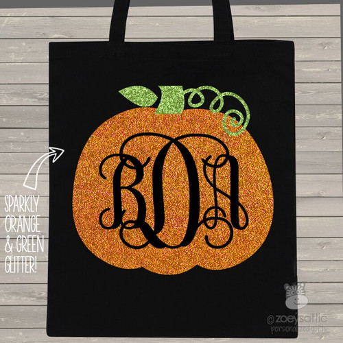 Halloween sparkly monogram trick or treat bag