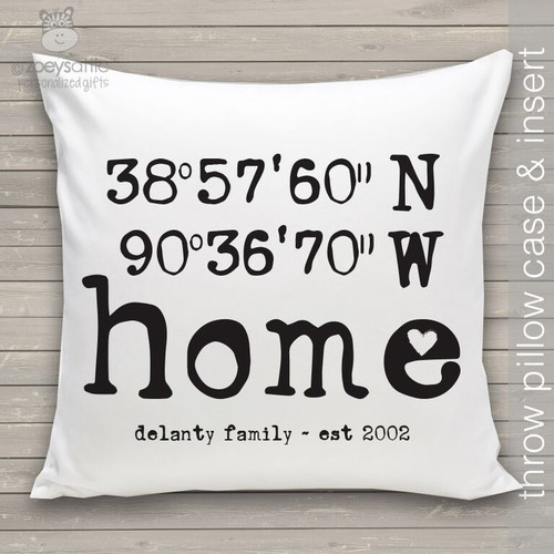 Home latitude longitude throw pillow