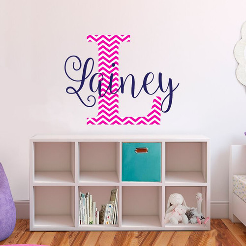 Name and initial chevron fabric vinyl wall decals
