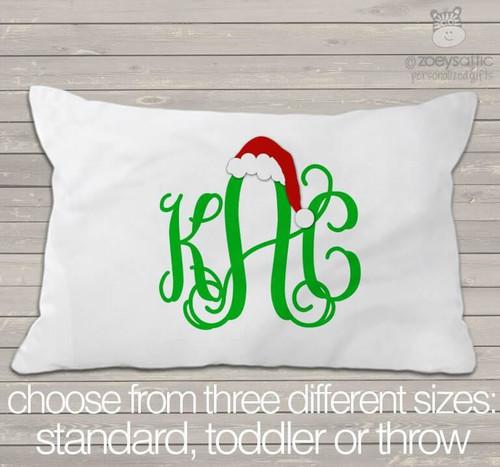 Monogram Santa hat pillowcase / pillow
