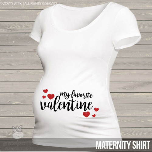 Valentine favorite side print sparkly hearts maternity top