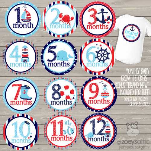 Monthly baby onesie stickers nautical