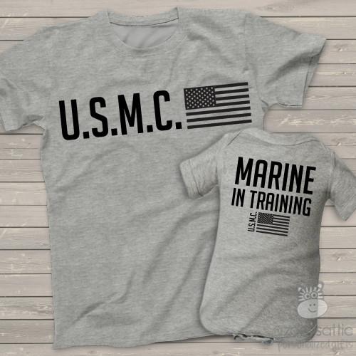 U.S.M.C. parent child Marine in training matching shirt gift set