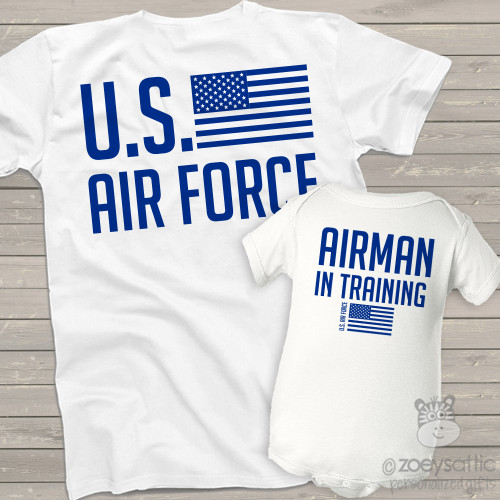 U.S. Air Force parent child airman in training matching shirt gift set