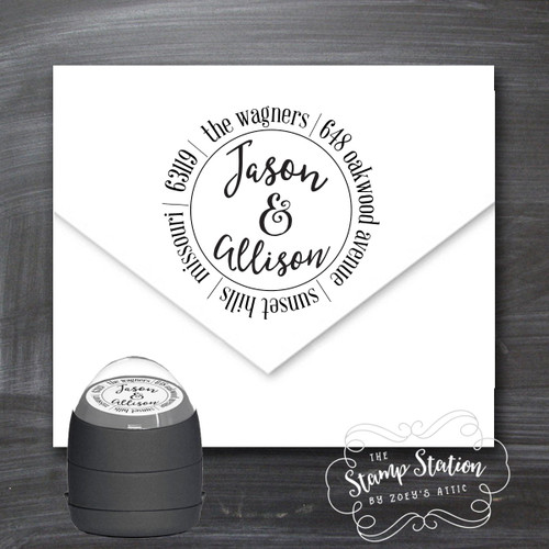 First names round address self inking stamp