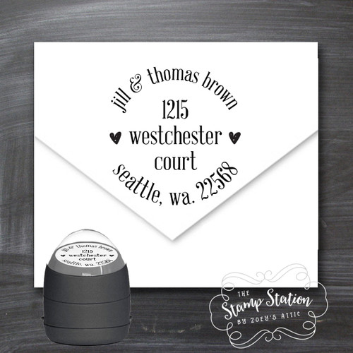 Couples round address self inking stamp