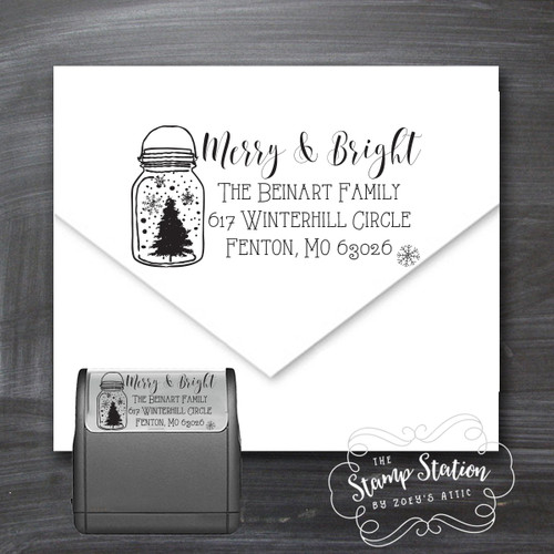 Mason jar Christmas card return address self inking stamp