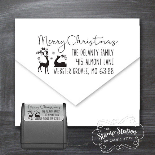 Reindeer Christmas card return address self inking stamp