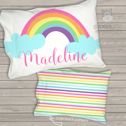 Toddler travel pillow personalized rainbow and clouds