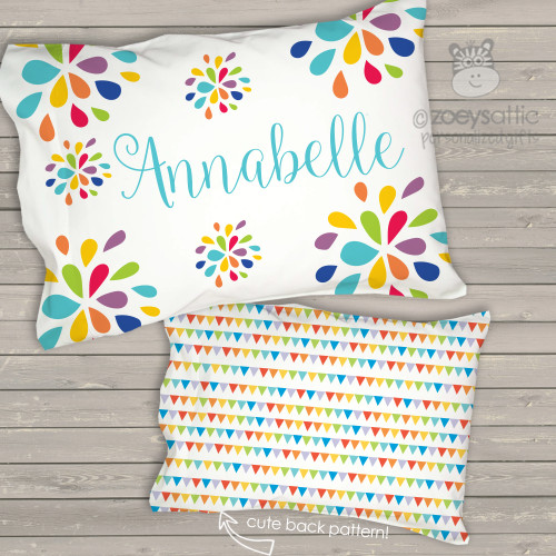 Toddler travel pillow personalized flower and flag girl