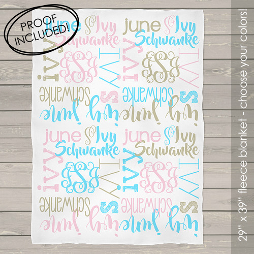 Personalized fleece baby blanket