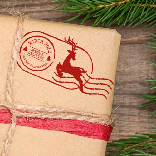 North Pole Christmas postage return self inking stamp