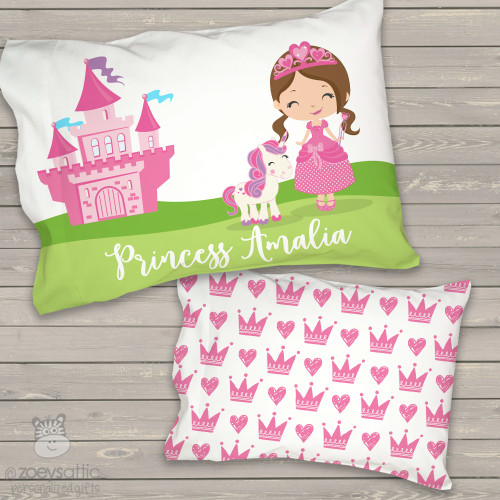 Toddler travel pillow personalized girl princess and unicorn