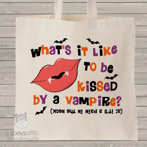 Halloween trick or treat bag vampire joke