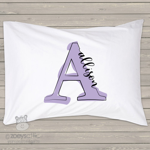 Monogrammed painted letter personalized pillowcase / pillow