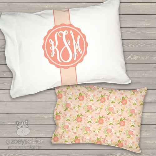 Monogrammed toddler travel pillow floral