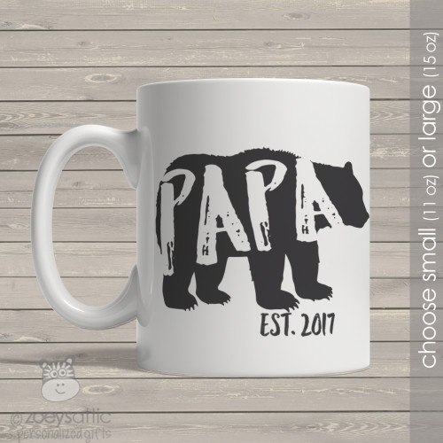 Papa established bear coffee mug